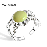 2017 New Adjustable Silver Ring 925 Jewelry For Women Natural Round Turquoise Stone Fashion Hollow Open