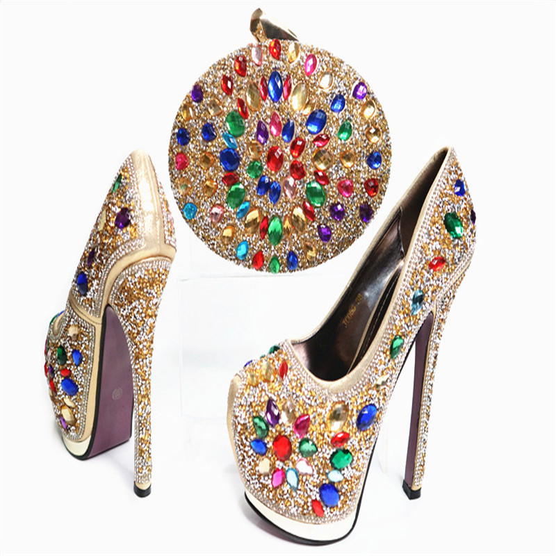 G31 New Arrival European Style Shoes And Bag Set Fashion Crystal Woman High Heels Matching Bag 14 Cm Gold Sexy Heels Online new arrival dreambox cow suede shoes gold and black rivets fashionable parties and banquets men s shoes european style smok