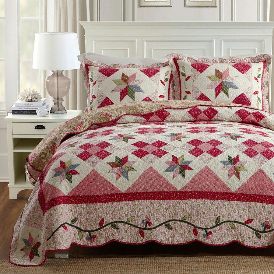 Juego de edredón de retales de estilo coreano 3 piezas de ropa de cama de verano acolchado colcha de algodón-in Colchas from Hogar y Mascotas    1