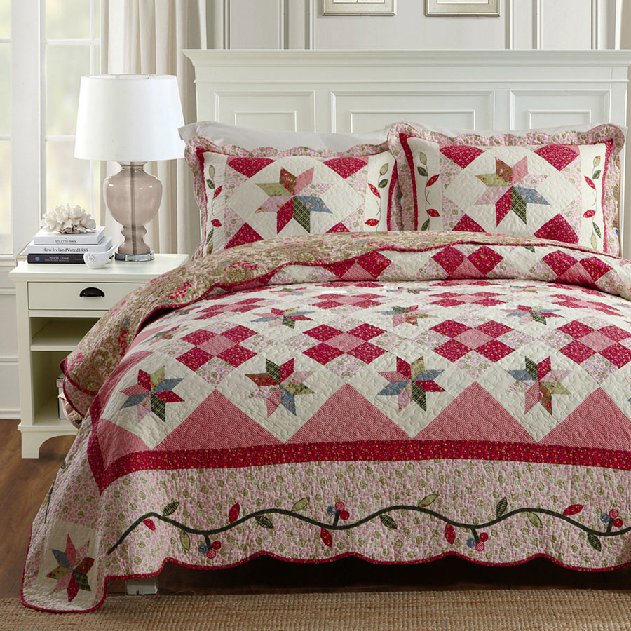 Korea Style Patchwork Quilt Set 3PCS Summer Bedding Quilted Bedspread Cotton Quilts Bed Cover Bedspread Super