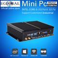 Fanless Mini-pc com Windows 7/8/10 Core i5 3317U i3 3217U Dual Nics 4 * RS232 com PC industrial Robusto computador 300 M Wifi BT HDMI + VGA