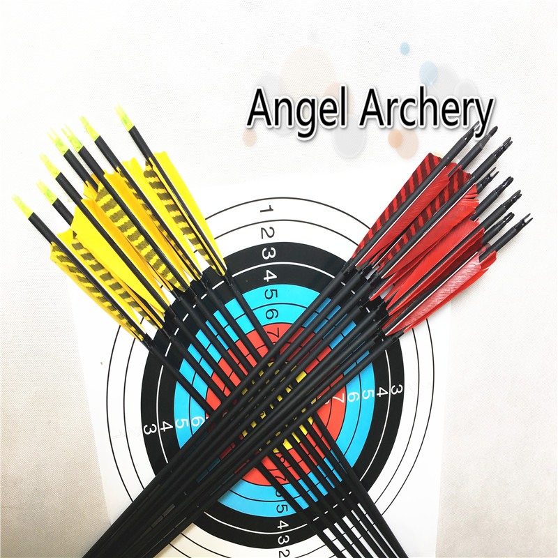 12pk Yellow and Red Stripe carbon arrow Spine500 spine 600 Carbon Arrows with Screw Tip Hunting