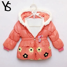 Sales! 9m-3T High Quality Baby Girls Warm Coat Toddler Winter Floral Coat Fur Hooded Jacket Out Wear Clothing Clearance