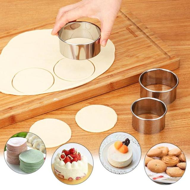 3pcs/set Stainless Steel Round Dumplings Wrappers Molds Set Cutter Maker Tools Round Cookie Pastry Wrapper Cutting Maker Tool