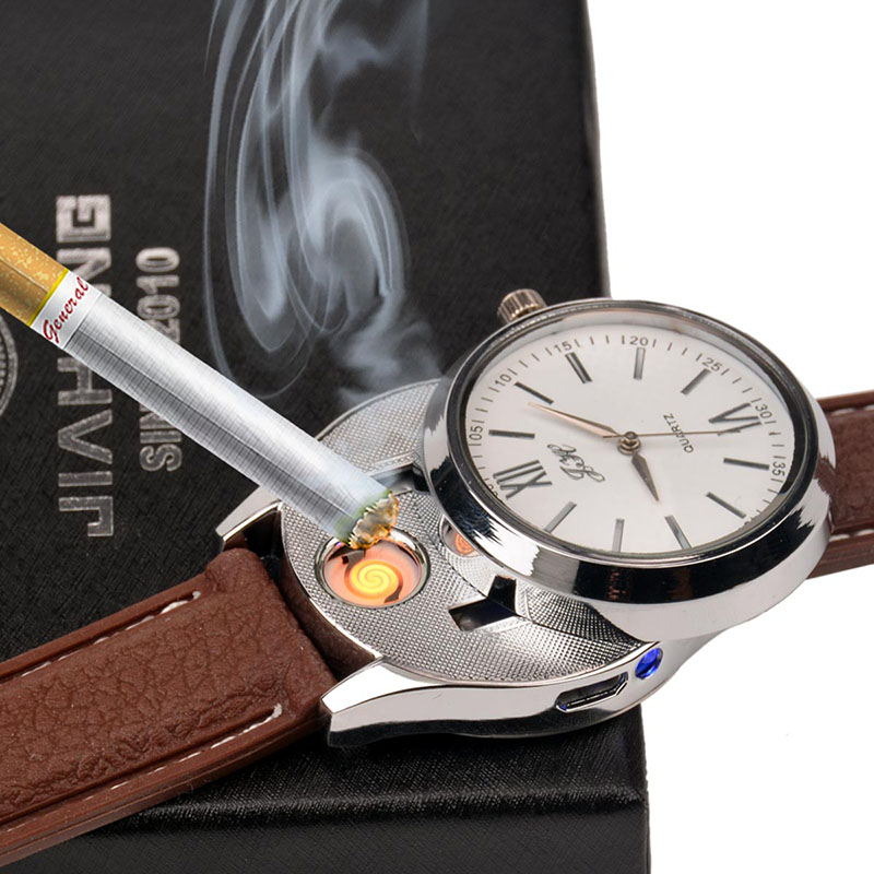 Wholesale Cigarette USB Lighter Watch font b Men b font Luxury Wristwatch Male Rechargeable Windproof Flameless