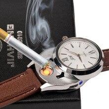Venta al por mayor Reloj de Lujo de Los Hombres Reloj de Pulsera Masculino Recargable USB Encendedor de Cigarrillos A Prueba de Viento Sin Llama Encendedor de Cuarzo Relojes