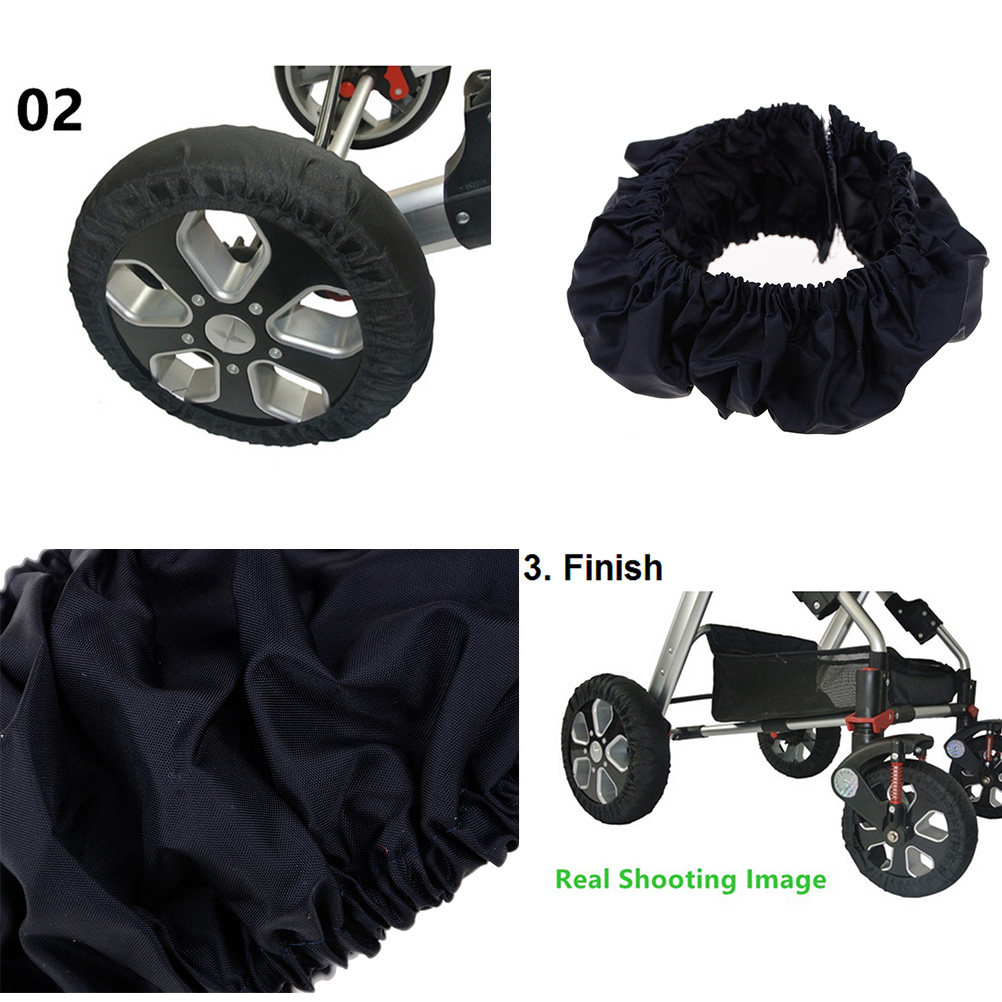 2Pcs Baby Kids Stroller Pram Anti Dirty From Floor Wheel Black Cover AccessoryHG