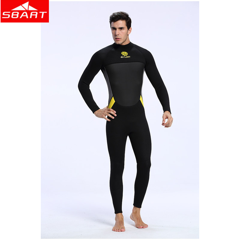 SBART 3mm Neoprene Surf Dive Wetsuit For Men One-piece Spearfishing Wet Suit Diving Wetsuit Keep Warm One-piece Diving Equipment spearfishing wetsuit 3mm neoprene scuba diving suit snorkeling suit triathlon waterproof keep warm anti uv fishing surf wetsuits