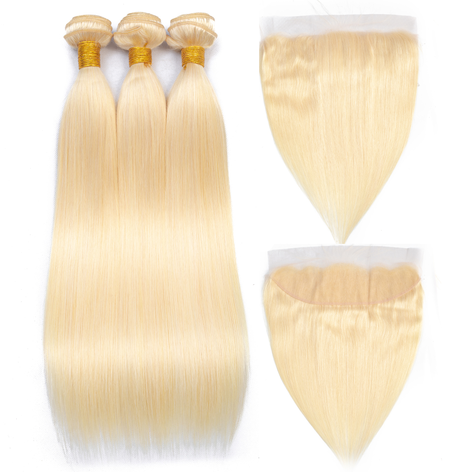 Queenlike Brazilian Hair Weave Bundles Honey Blonde Bundles With Lace Closure Remy Human Hair Color 613
