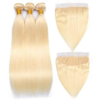Queenlike brazylijski włosy wyplata wiązki miód blondynka wiązki włosów z zamknięcia koronki Remy ludzki włos kolor włosów 613 wiązki z Frontal