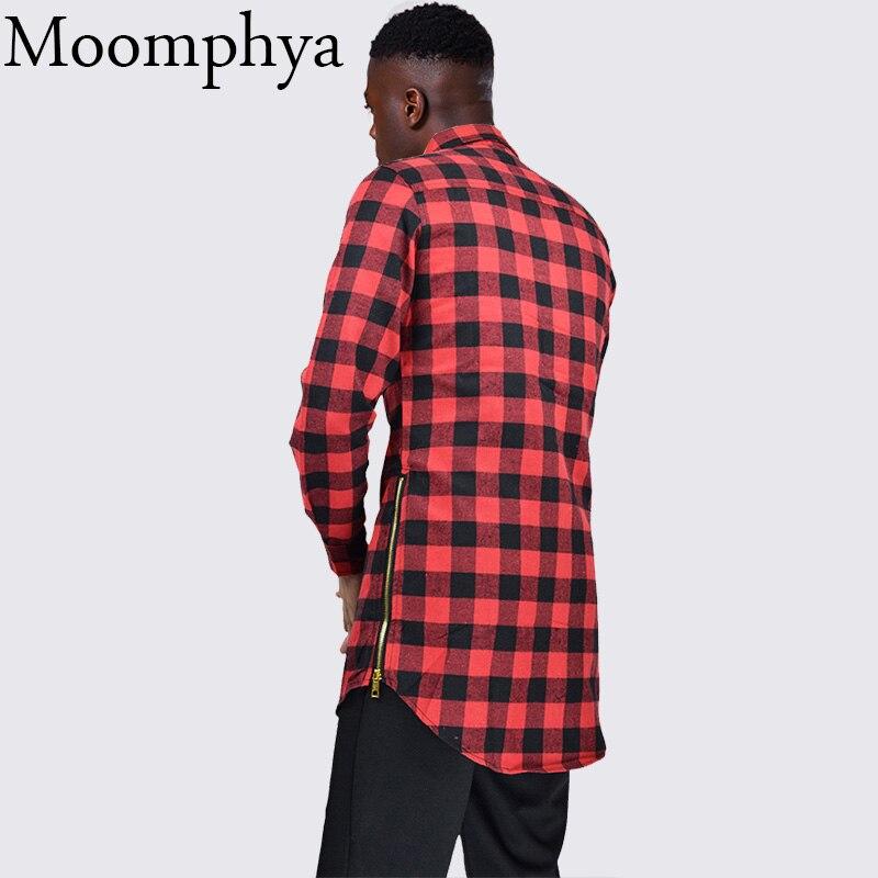 Moomphya fashion street wear Men longline shirt long style plaid shirt men extended curve hem shirt side zip men hip hip shirt