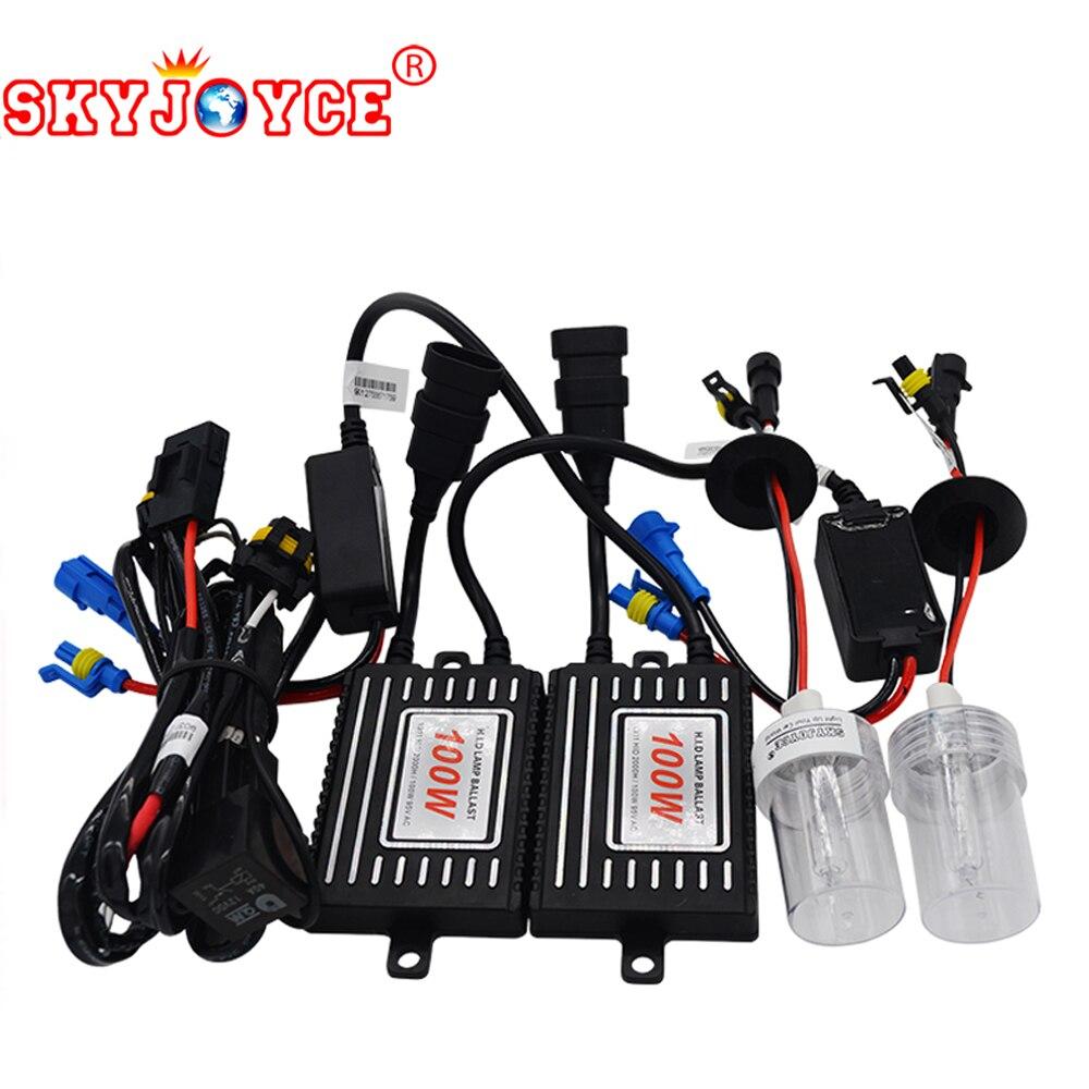 SKYJOYCE haute puissance hid ampoules phare H11 H7 HB3 HB4 H1 100 W hid kits 4300 K 5000 K 6000 K 8000 K rapide lumineux H4-2 100 W D2Y D2H