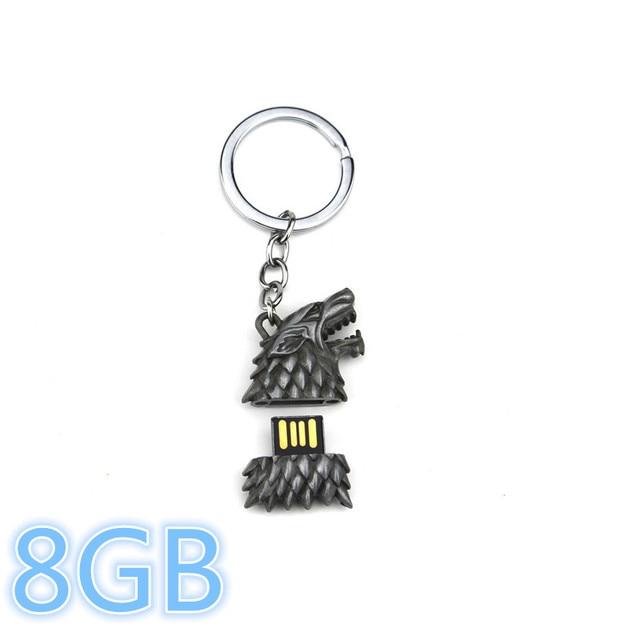 2017 New Fashion Game of Thrones Stark Sigil Direwolf USB Flash Drive Key Chain Ring Movie Jewelry Winter is Coming Keychain
