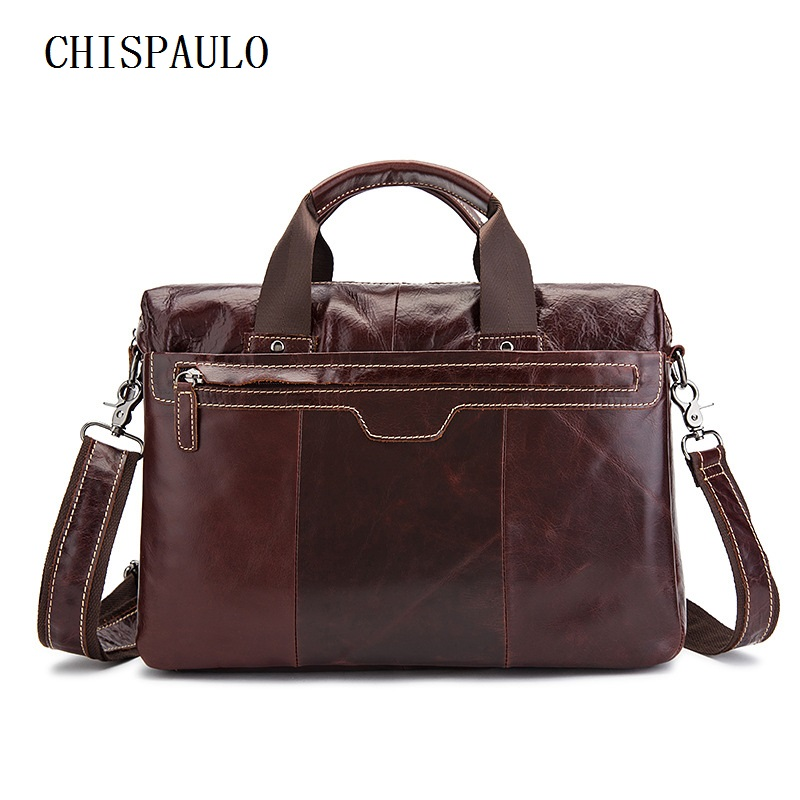 CHISPAULO Men's Briefcase Leather Laptop Bag 14 Genuine Leather Men Bags Men Messenger Bags Shoulder Crossbody Bag Handbag  T729 bvp free shipping new men genuine leather men bag briefcase handbag men shoulder bag 14 laptop messenger bag j5