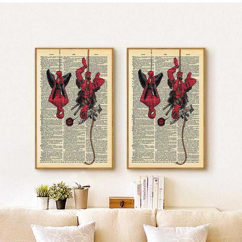 Постеры с супергероями, Человек-паук и Дэдпул, плакат, настенная художественная живопись, винтажный скандинавский постер, художественные настенные картины для домашнего декора
