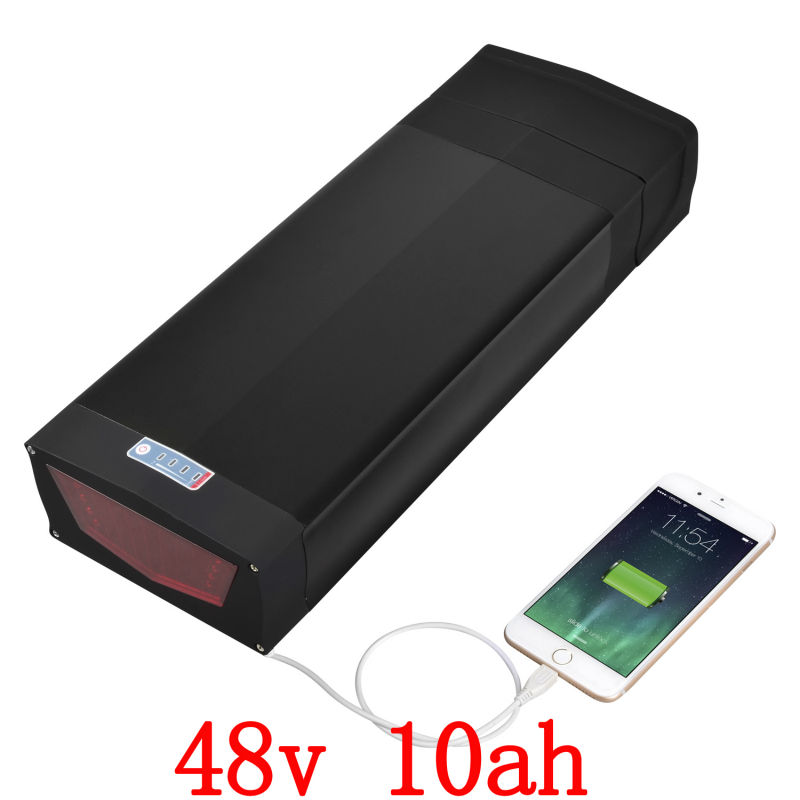 US EU No Tax hot selling eBike lithium 48V 10Ah rear rack battery pack with USB port 2A charger for 48V 500W Electric Bicycle free customs taxes super power 1000w 48v li ion battery pack with 30a bms 48v 15ah lithium battery pack for panasonic cell