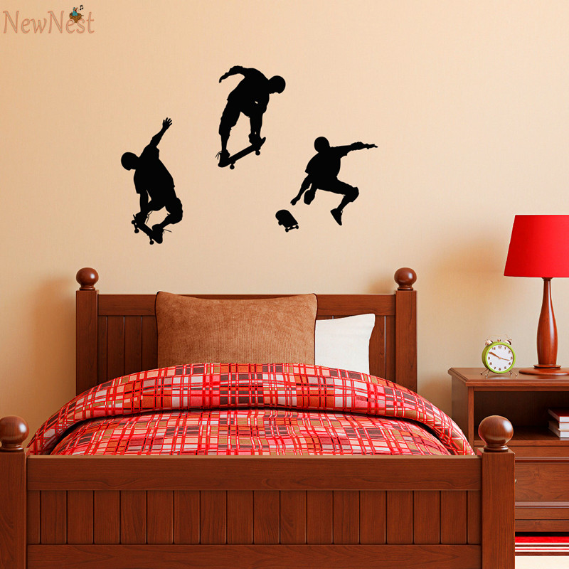 Skateboarder Wall Decal - Set of Three - Kids Wall Sticker - Boys Room Wall Art Decor - Skating Boy Mural Design