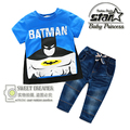 Children Clothing Set Summer Cartoon Superman Batman Boy Sets 2pcs Suit Short Sleeves T-shirts +Jeans Fashion Kids Clothing