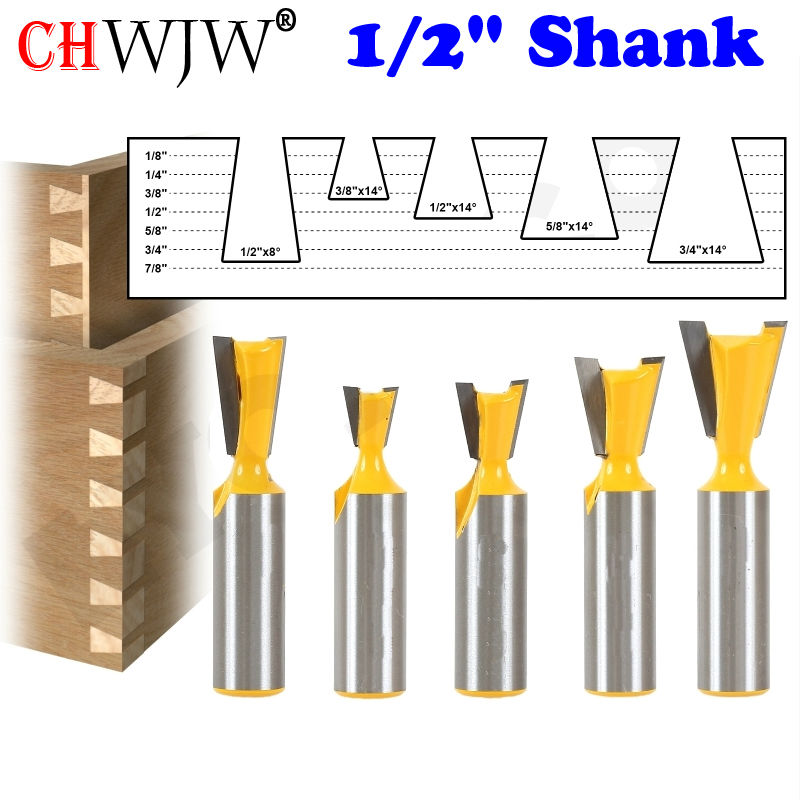 "Купить с кэшбэком 5pcs/set 1/2"" Shank High Quality Industry Standard Dovetail Router Bit Cutter wood working"