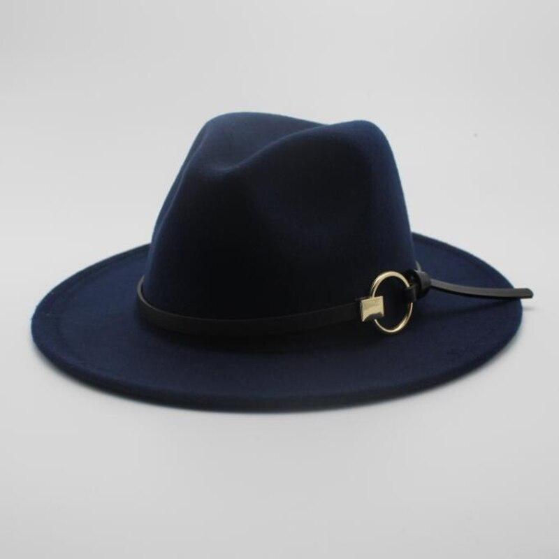 OZyc lana mujeres hombres Kentucky Derby sombreros clásico Caballero ala ancha fieltro lana Fedora sombreros para Floppy Cloche Top jazz Cap