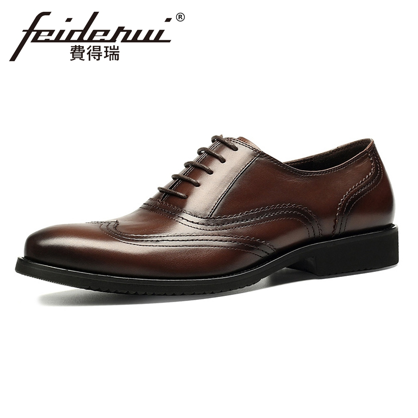Fashion Genuine Cow Leather Men's Oxfords Round Toe Handmade Formal Dress Office Flats British Style Brogue Shoes For Man HMS79 mens genuine leather oxfords shoes for men breathable stitching dress shoe british style casual flats oxford pointed toe zapatos
