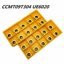 100PCS Lathe tool CCMT09T304 UE6020 Carbide blade inside round car cutter CCMT 09T304 Face milling lathe