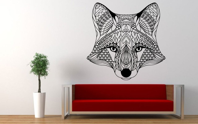 huge fox head pattern tribal fox head wall sticker mural home bedroom special decorative art design - Stickers Muraux Design Decoration