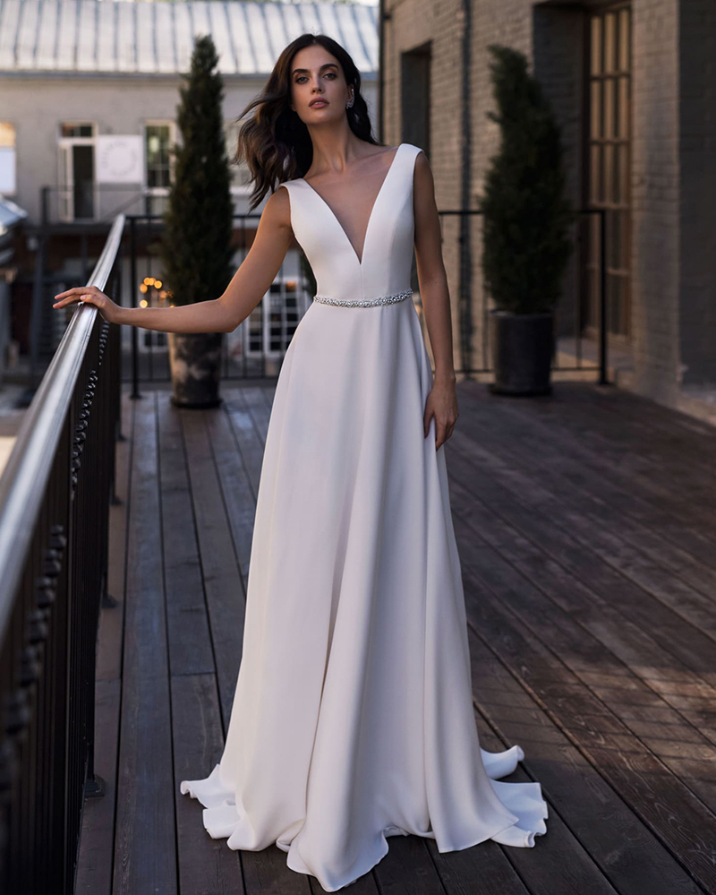 Smileven Wedding Dress A Line Deep V Neck Bridal Dress Backless With Crystal Sash Vestidos De Novia Wedding Gowns Boho 2019