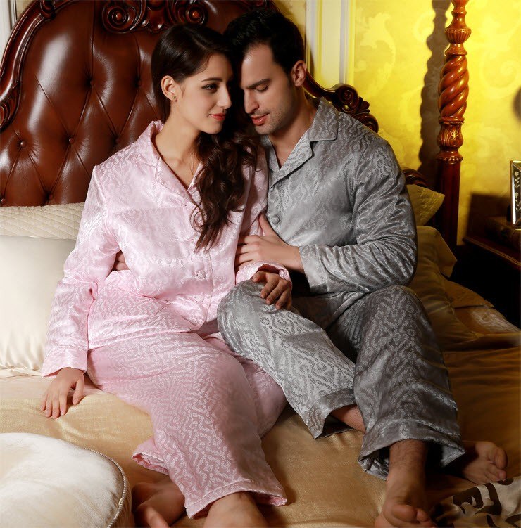 19MM 100% Pure Silk Couple's Pajamase Set With Silk Filler For Men Size L XL XXL