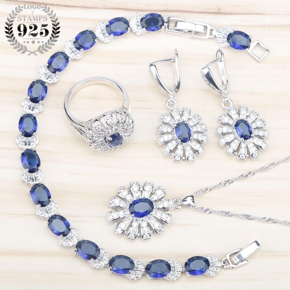 Blue Zircon 925 Silver Wedding Jewelry Sets Women Bracelets Necklace Pendant Earrings Rings Set With Stones Jewelery Gift Box