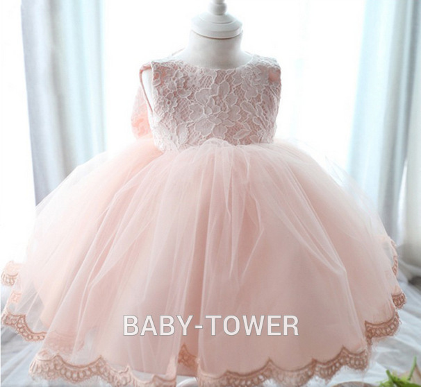 2017 New Christening Gowns Kids Girl Pink Lace Dress+Big Bow Party Tulle Flower Princess Dresses Kids Wedding Dresses For Girls summer 2017 new girl dress baby princess dresses flower girls dresses for party and wedding kids children clothing 4 6 8 10 year