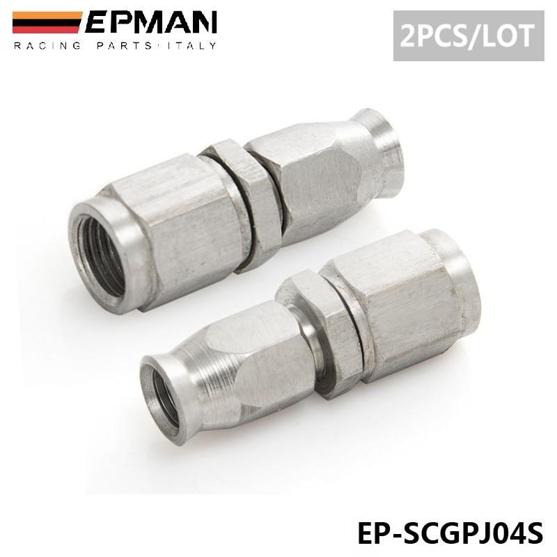 2PCS/LOT EPMAN Stainless Steel AN3 to AN -3 Straight Brake Swivel Telfon Hose Ends Car Fitting EP-SCGPJ04S(2PCS) 2pcs lot hyb18t1g800af 3 7