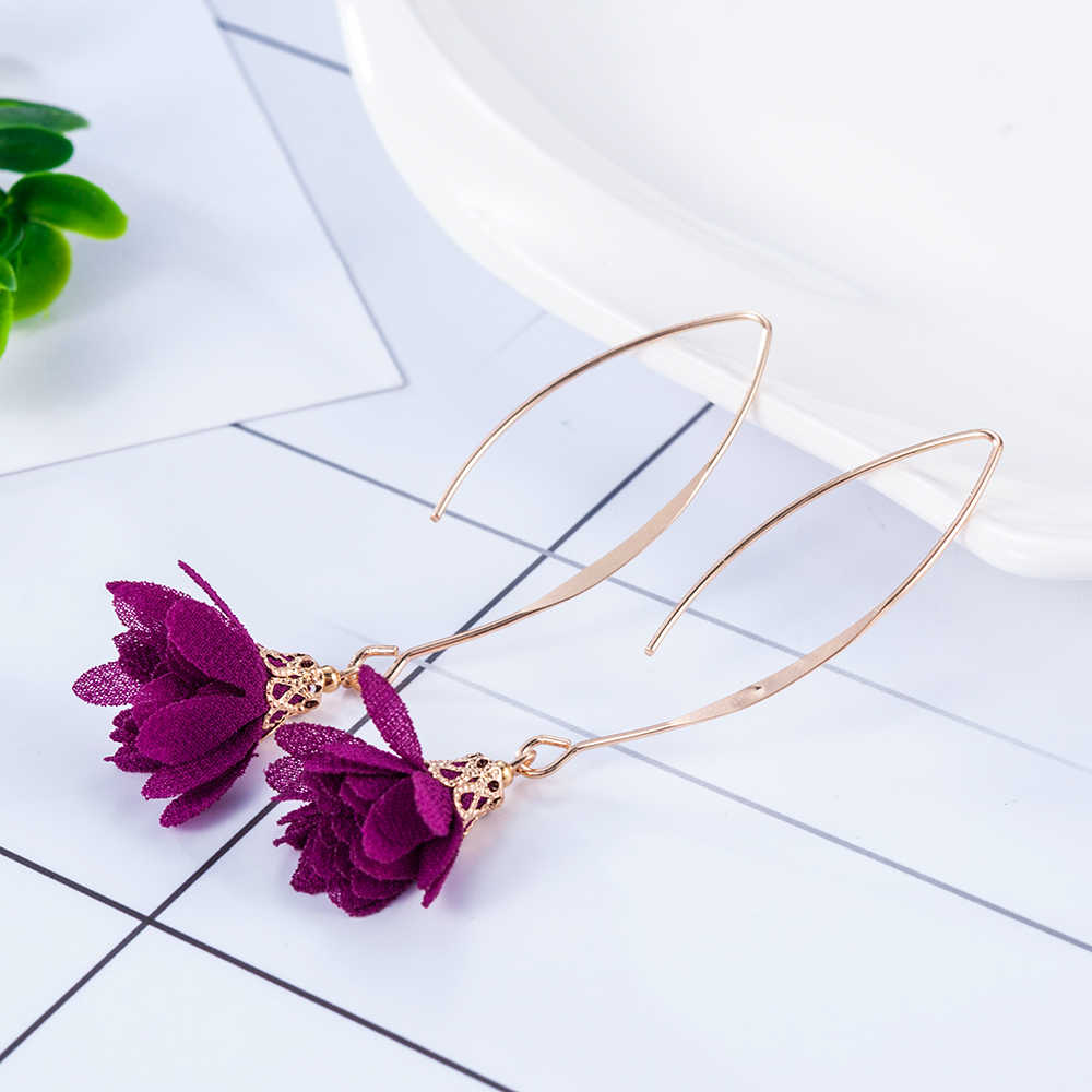 2019 New Fashion Women Drop Earrings Flowers Tassel Bohemian Women Hook Long Earrings Charming Dangle Eardrop Gift