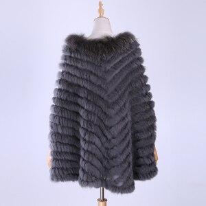 Image 4 - Jersey de lujo para mujer, Poncho de piel de mapache y conejo auténtico tejido de pieles, chal, abrigo triangular, 2020