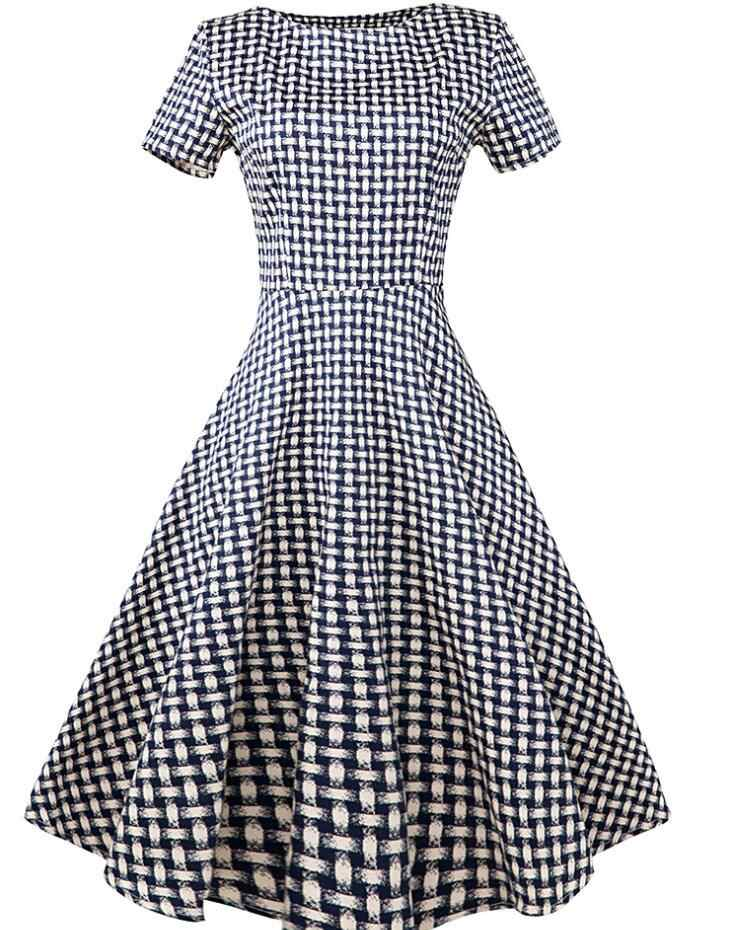 New Ladies Fashion Short Sleeve Simple Plaid Pattern Casual Housewife  Summer Tea dress 1950s Vintage Style