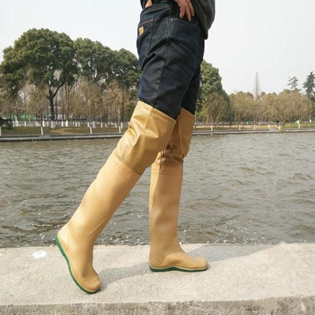 High-Jump OverKnee 60cm Fishing Waders Waterproof Knitted Fabrics Soft Sole Hunting Boots Widely-Used Tie Strap Fishing Waders