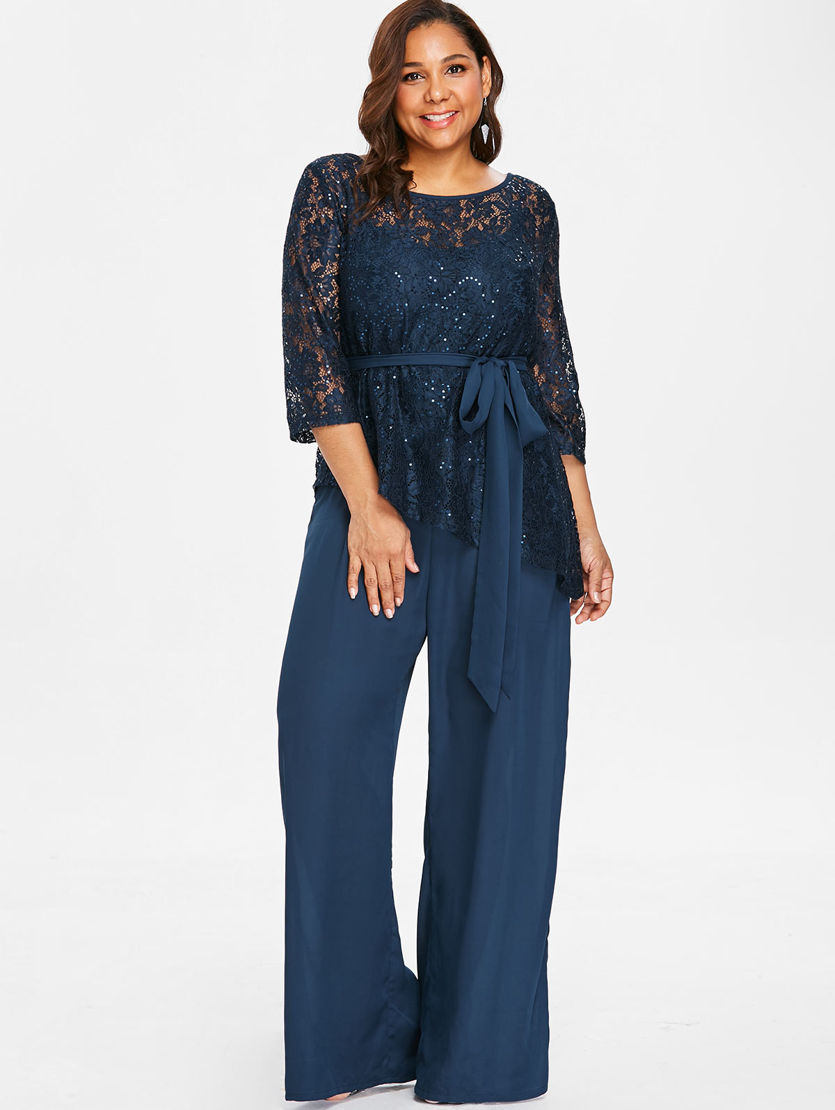 Wipalo Women Plus Size 5XL Wide Leg Jumpsuit With Lace Blouse Casual Solid  Belted Two Piece Palazzo Jumpsuit Ladies Set Big Size-in Jumpsuits from  Women s ... 7ad848bf0891
