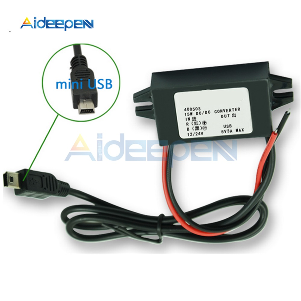 DC/DC Wasserdicht Converter Regler 12V zu 5V 15W <font><b>3A</b></font> <font><b>Step</b></font> <font><b>Down</b></font> Buck Power Module mit mini <font><b>USB</b></font> image
