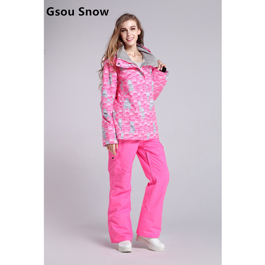 Gsou Snow Women Ski Suits Winter Snowboarding Jackets and Pants Windproof Waterproof Colorful Female Outdoor Sports Skiing Sets for geely king kong mk car driving video recorder dvr mini control app wifi camera black box registrator dash cam