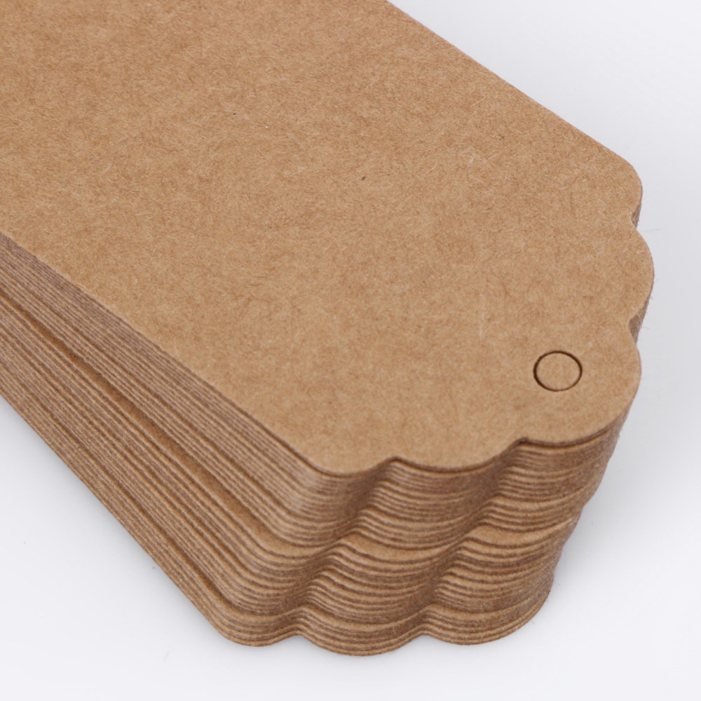 50 pcs diy kraft paper labels vintage wedding decor tags scallop
