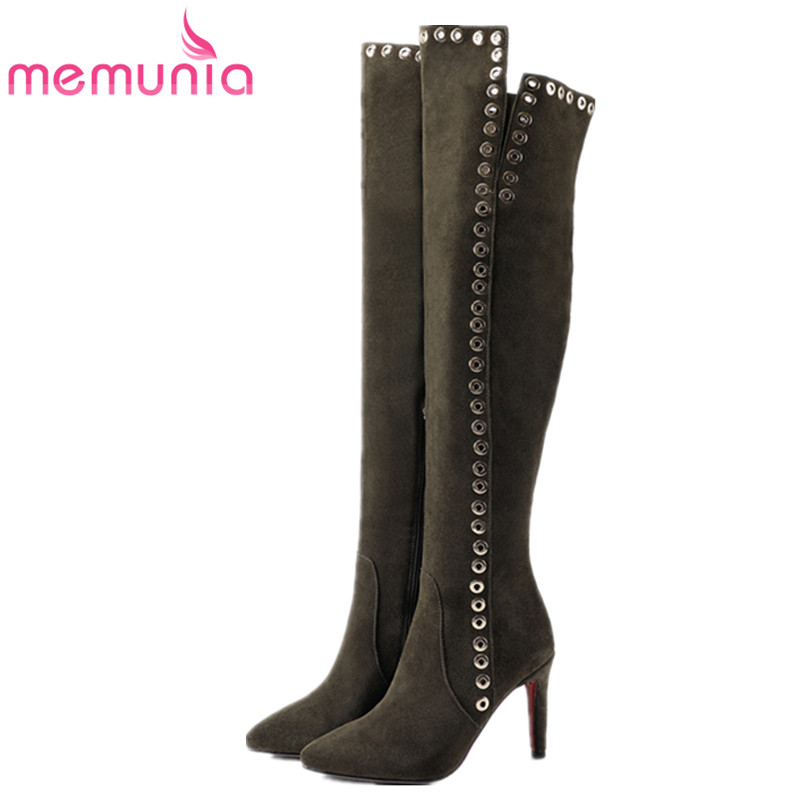 MEMUNIA Over the knee boots for women cow suede thin heels shoes woman fashion boots top quality womens boots big size 34-41 fashion letter label embellished shinning pu baseball cap for men and women