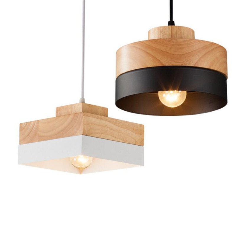 L35-Modern Simple Solid Wood Parlor Balcony Study LED Pendant Light Nordic Personalized Restaurant Bar Coffee Pendant Lamp