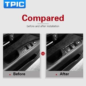 Image 3 - TPIC Auto Innen Dekoration Carbon Faser Auto Fenster Switch Control Panel Auto Aufkleber Auto Styling Für Audi Q7 2008 2015