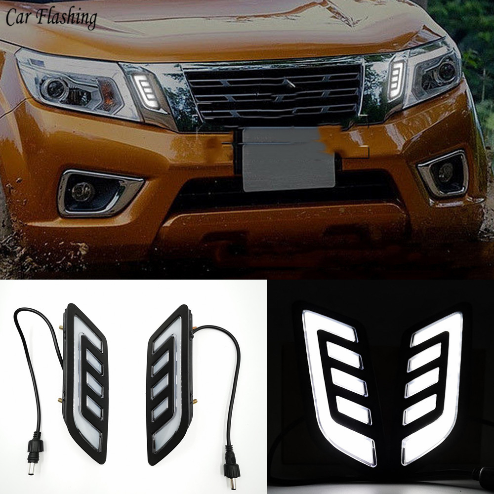 1Set DRL Daytime Running Lights mask grille LED lamp with turning signal For Nissan NAVARA NP300