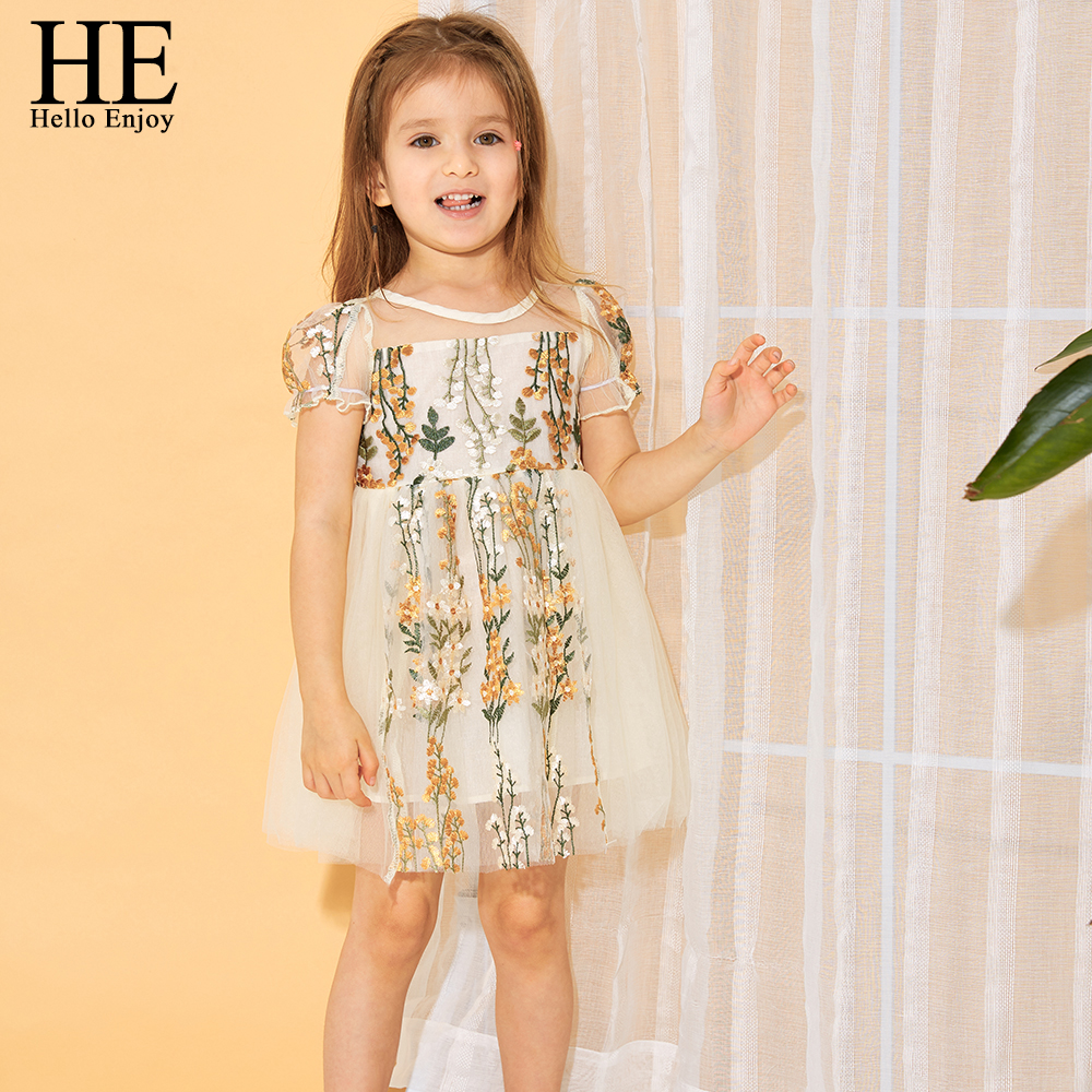 HE Hello Enjoy Girls Dresses Kids Clothes Embroidery Lace Gown Princess Dress Dance Party