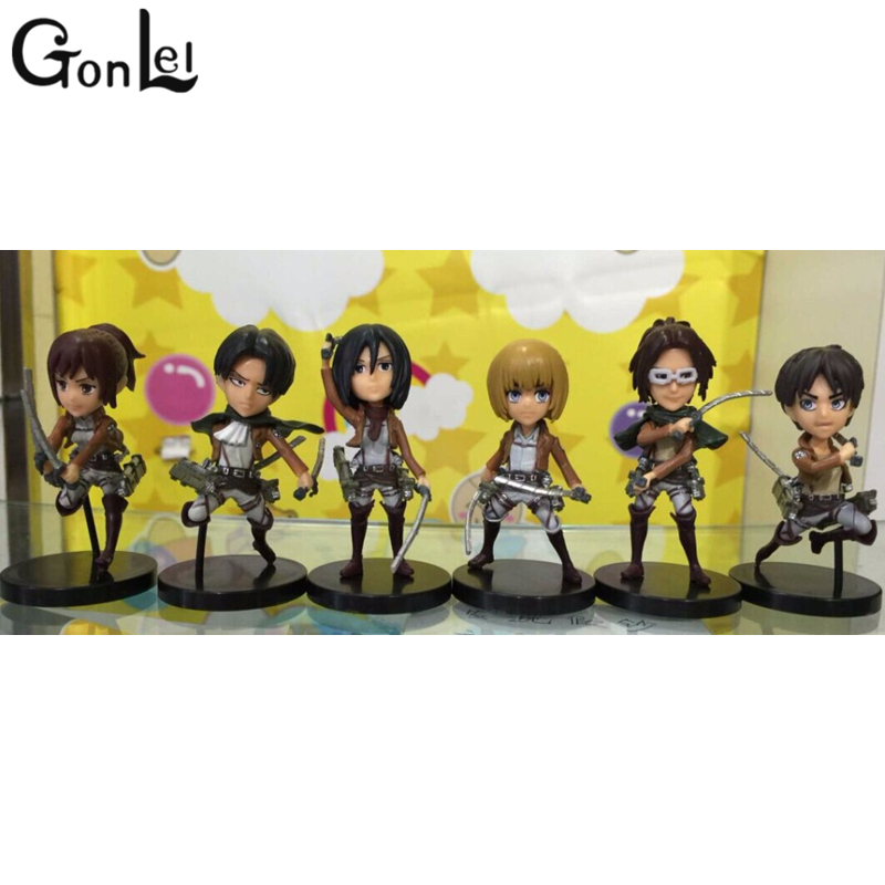 GonLeI 6pcs/lot 8cm Attack on Titan Levi Rivaille Nendoroid Attack on Titan Levi PVC Action Figure Attack on Titan Anime 25cm levi ackerman rivaille li weier soldiers attack on titan trunk standing battle edition pvc action figure model toys