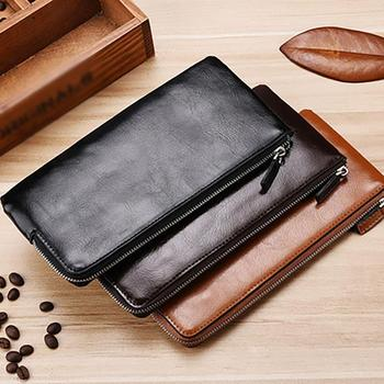 Handy Leather Men's Wallet with Cell Phone Bag Ultra-thin Long Zipper Wallet for Men Slim Clutch Card Holder Coin Purse for Male new trend vintage fashion men long wallet men split leather wallet card holder male zipper purse coin purse male clutch bag