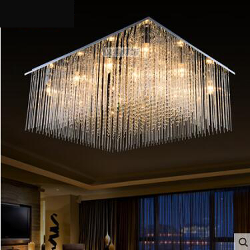 Creative rectangular crystal lamp LED living room lamp ceiling lamp bedroom lighting restaurant lighting modern minimalist led rectangular living room lamp modern minimalist bedroom led crystal ceiling lamps creative personality hall restaurant lighting