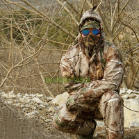 Men's WATERPROOF Bionic Camouflage Hunting Loose Clothing Breathable Ghillie Suit Jacket and Trousers for Outdoor Sports