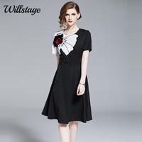 Willstage Little black dress short sleeve Elegant A line Party Empire Dresses women Waist Slim 2019 Summer runway Vestidos